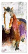 Snow Horses Beach Towel