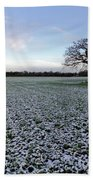 Snow In Surrey Countryside Beach Towel