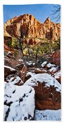 Snow In The Canyons Beach Towel
