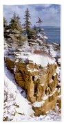 Snow In The Park Acadia Maine Beach Towel