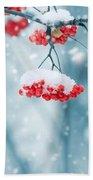 Snow On Red Berries Beach Towel