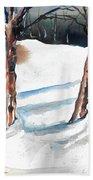 Snow Orchard Beach Towel
