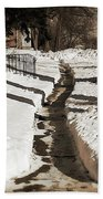 Snow Paths And Winter Shadows Beach Towel