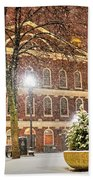 Snow Storm In Faneuil Hall Quincy Market Boston Ma Beach Towel