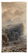Snow Storm On A Northern Coast Beach Towel