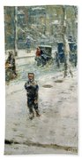 Snow Storm On Fifth Avenue Beach Towel by Childe Hassam