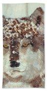 Snow Wolf Beach Towel