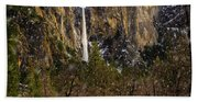 Snowfall Bridalveil Falls Beach Towel