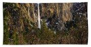 Snowfall Bridalveil Falls Beach Towel