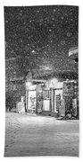 Snowfall In Harvard Square Cambridge Ma Kiosk Black And White Beach Towel