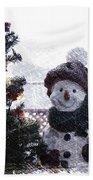 Snowman And Tree Pa Beach Towel