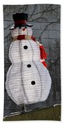 Snowman On The Roof Beach Towel