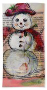 Snowman With Red Hat And Mistletoe Beach Towel