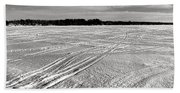 Snowmobile Tracks On China Lake Beach Towel