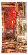 Snowstorm On Tremont Street Boston Ma Park Street Church Beach Towel