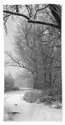 Snowy Branch Over Country Road - Black And White Beach Towel