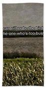 Snowy Egret Inspirational Quote Beach Sheet
