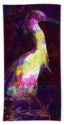 Snowy Egret Waterfowl Bird Large  Beach Towel