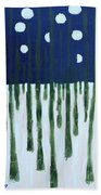 Snowy Forest At Midnight Beach Towel
