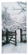 Snowy Garden Gate Three Beach Towel