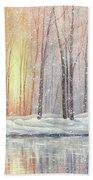 Snowy Glow Beach Towel