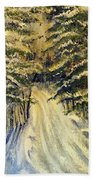 Snowy Lane Beach Towel