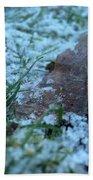 Snowy Leaf Beach Towel