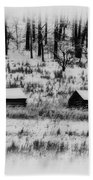 Snowy Log Cabins At Valley Forge Beach Towel
