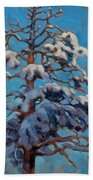 Snowy Pine-tree Beach Towel