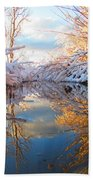Snowy Refections Beach Towel