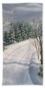 Snowy Road  Beach Towel