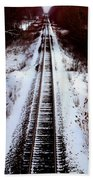 Snowy Train Tracks Beach Towel