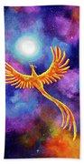 Soaring Firebird In A Cosmic Sky Beach Sheet