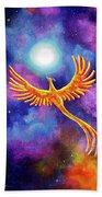 Soaring Firebird In A Cosmic Sky Beach Towel