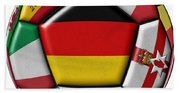 Soccer Ball With Flag Of German In The Center Beach Towel