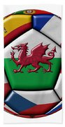 Soccer Ball With Flag Of Wales In The Center Beach Towel