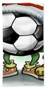 Soccer Christmas Beach Towel