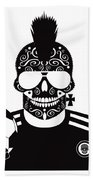 Soccer Skull Icon Background With Sunglasses And Ball. Beach Towel