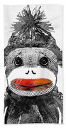 Sock Monkey Art In Black White And Red - By Sharon Cummings Beach Sheet