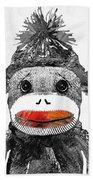 Sock Monkey Art In Black White And Red - By Sharon Cummings Beach Sheet