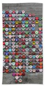 Soda Pop Bottle Cap Map Of The United States Of America Beach Towel