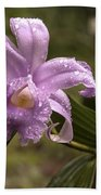 Soft Pink One-day Orchid With Droplets Of Dew Beach Towel