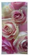 Soft Pink Roses Beach Towel