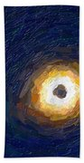 Solar Eclipse In Totality Painting Beach Towel