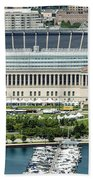 Soldier Field Stadium In Chicago Aerial Photo Beach Towel