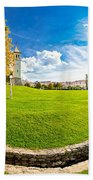 Solin Park And Church Panoramic View Beach Towel