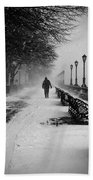 Solitary Man In The Snow Beach Towel
