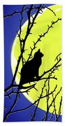 Solitary With Golden Moon Beach Towel