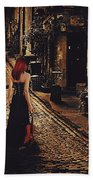 Soloist - Solitary Woman With Violin Beach Towel
