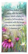 Song Of The Flowers With Bible Verse Beach Towel
